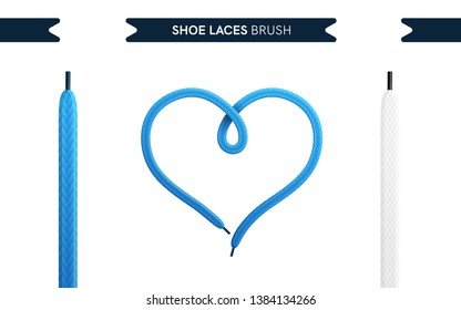 Shoe laces brush set isolated on a white background. heart shape. Blue color. Realistic lace knots and bows. Modern simple design. Flat style vector illustration.