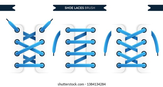 Shoe laces brush set isolated on a white background. Blue color. Realistic lace knots and bows. Modern simple design. Flat style vector illustration.