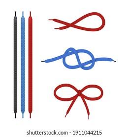 Schnürsenkel gerade und in verschiedenen Knoten realistisch eingestellt. Schuhe, rote, blaue, schwarze Kollektion. Schnürsenkel beugten sich, Schleife. Lacke Elemente. Vektorgrafik einzeln auf weißem Hintergrund.