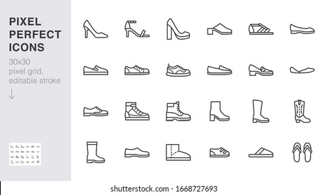 Shoe line icon set. High heels sandal, cowboy boots, hiking footwear, sneakers, slipper minimal vector illustrations. Simple outline signs for fashion application. 30x30 Pixel Perfect. Editable Stroke