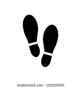 Shoe print icon symbol vector. on white background