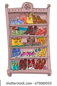 Shoe rack full of fashionable  shoes, sandals, sneakers, sport shoes and warm winter boots. Vector cartoon.