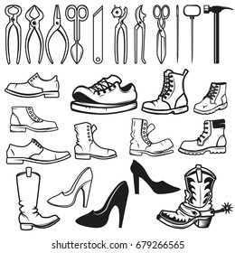 Shoe repair design elements. Tools for shoe repair. Shoes. Vector illustration