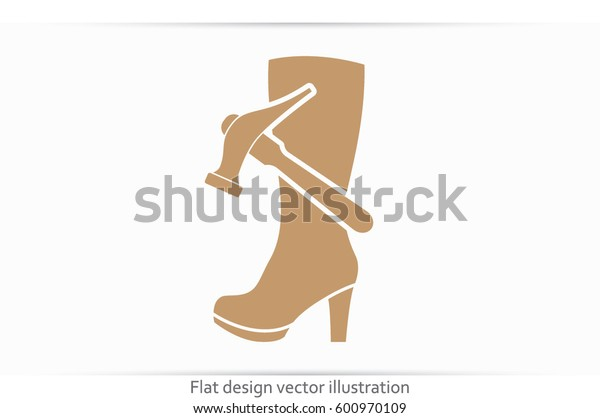 Shoe repair icon vector illustration eps10. Women boots and a hammer to sign the web site or app.