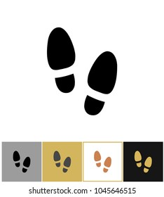 Shoe step print icon, shoes footstep sign or shoeprint symbol on gold, black and white backgrounds vector illustration