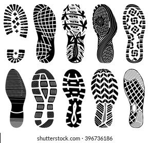 Shoe tracks - Illustration. Collection of highly detailed footprints: shoes, sneakers, boots, slippers