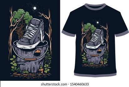 shoe t-shirt - vector design illustration, it can use for label, logo, sign, sticker for printing for the family t-shirt.