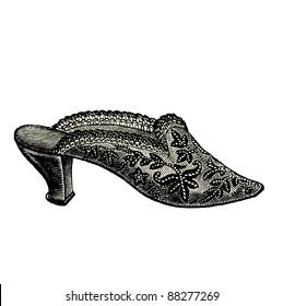 """Shoe - Vintage engraved illustration - """"La mode illustree"""" by Firmin-Didot et Cie in 1882 France"""