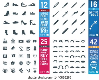 Shoe, Writing Tools, Bank, Mustaches icons