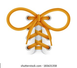 Shoelaces. Element of sneaker. Orange laces with bow knot on white background. Vector illustration