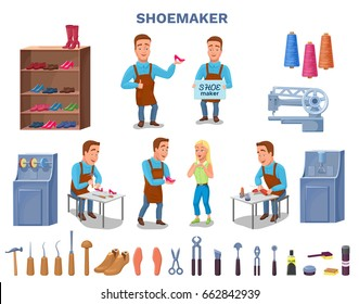 Shoemaker cartoon character with cobbler tools set colorful vect