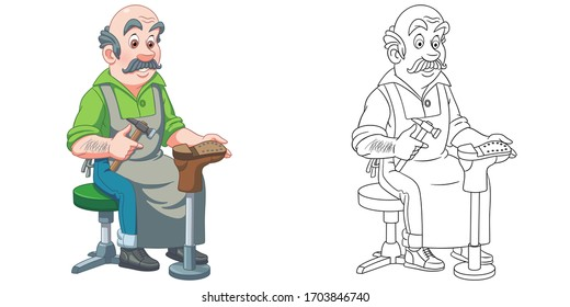 Shoemaker or cobbler. Coloring page and colorful clipart character. Cartoon design for t shirt print, icon, logo, label, patch or sticker. Vector illustration.
