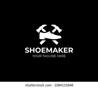 Shoemaker logo template. Shoe repair vector design. Male shoe and hammer logotype