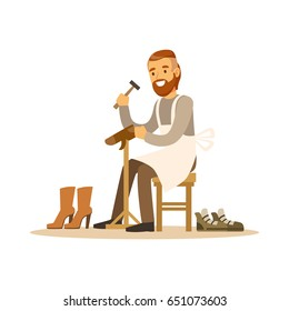 Shoemaker mending a shoe in workshop colorful character vector Illustration