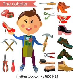 Shoemaker profession flat character and icons with different tools.