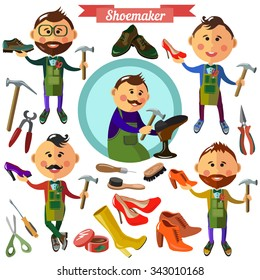 Shoemaker profession flat characters and icons with  different tools.
