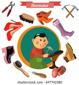 Shoemaker profession flat vector character and icons with different tools.