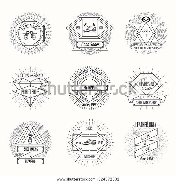 Shoemaking Logo Shoes Repair Labels Hipster Stock Vector (Royalty