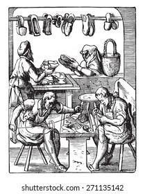 Shoemaking workshop, vintage engraved illustration. Industrial encyclopedia E.-O. Lami - 1875.