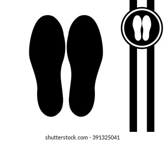 shoeprints - black and white vector icon