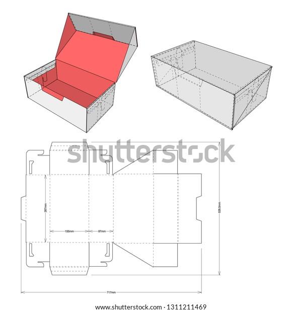 Caja De Cartón De Zapatos Y Patrón De Corte En Seco
