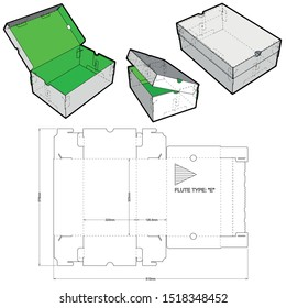Shoes Cardboard Box (Internal measurement 32x22+12cm) and Die-cut Pattern