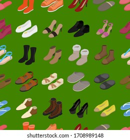 Shoes Concept Seamless Pattern Background 3d Isometric View Include of Sneaker, Sandal, Slipper, Loafer, Ballet and Moccasin. Vector illustration of Icons