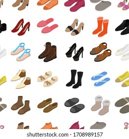 Shoes Concept Seamless Pattern Background on a White 3d Isometric View Include of Sneaker, Sandal, Slipper, Loafer, Ballet and Moccasin. Vector illustration of Icons