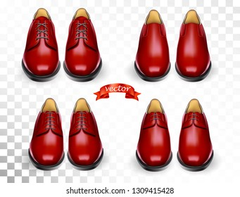 Shoes cosmetic care realistic set with red men oxford boots isolated vector illustration for cobbler shoe repair shop for ads, promo and banner. Cleaning and deodorant accessories kit for shoeshine