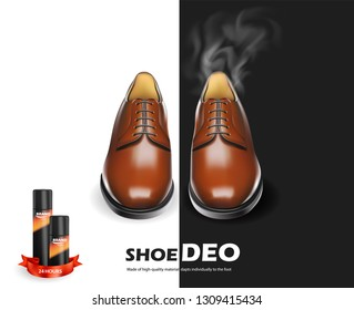 Shoes cosmetic care realistic set with brown men oxford boots isolated vector illustration for cobbler shoe repair. Loafers maintenance. Cleaning and deodorant accessories kit for shoeshine service.