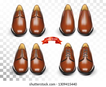 Shoes cosmetic care realistic set with brown men oxford boots isolated vector illustration for cobbler shoe shop for ads, promo and banner. Cleaning and deodorant accessories kit for shoeshine service
