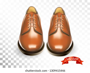 Shoes cosmetic care realistic set with brown men oxford boots isolated vector illustration for cobbler shoe repair shop for ads, promo and banner. Cleaning and deodorant accessories kit for shoeshine