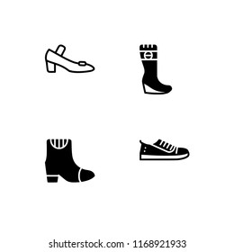 Shoes different models and types filled and outline icon set 10 EPS vector format. Transparent background.