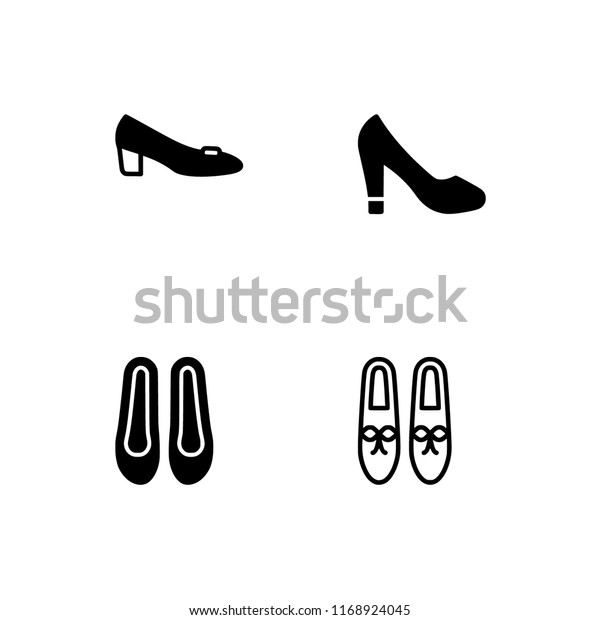 dcc7236f Shoes different models and types filled and outline icon set 10 EPS vector  format. Transparent