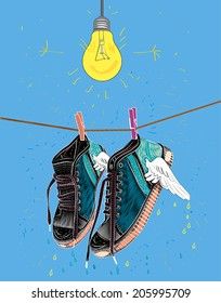 Shoes dried under the bulb. Shoes weigh on the rope on clothespins. Vector illustration.