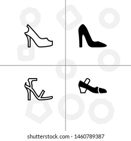 Shoes fashion style lineal, fill, solid, glyph icon set ransparent background