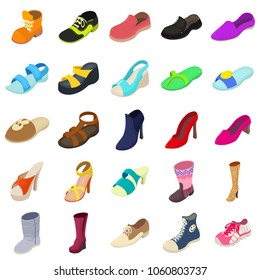 Shoes fashion types icons set. Isometric illustration of 25 shoes fashion types vector icons for web