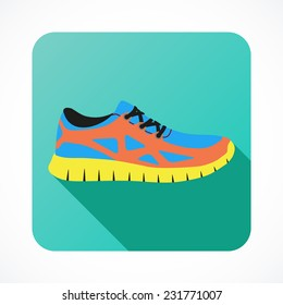 Shoes flat icon with bright colorful running sneakers. Vector illustration isolated on white background.