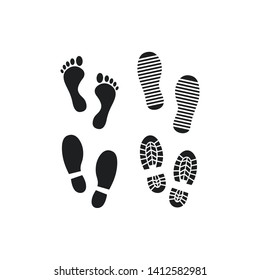 Shoes Footsteps set icon vector on white background