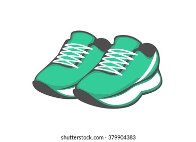 shoes. green sneakers. vector