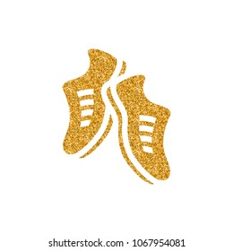 Shoes icon in gold glitter texture. Sparkle luxury style vector illustration.