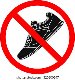 Shoes icon. Red prohibition sign. Stop symbol.