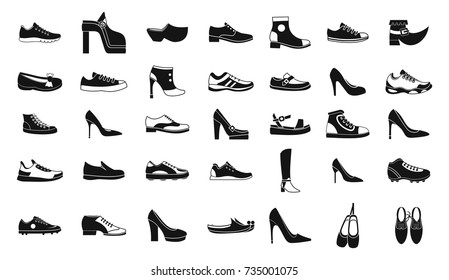 Shoes icon set. Simple set of shoes vector icons for web design isolated on white background