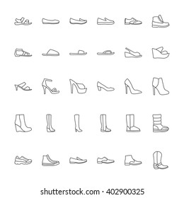 Shoes icons. Icons men and  women fashion shoes. Line icons on white background