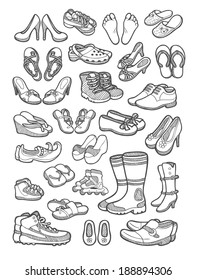 Shoes icons sketch. Hand drawing objects, male and female shoes, sandals, feet, etc.