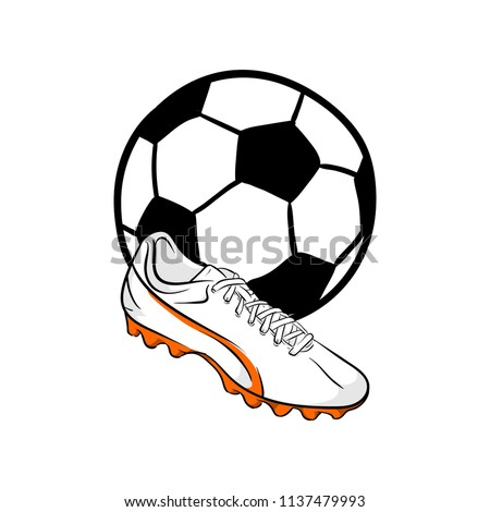 0c19b1a4534 Shoes Illustration Football Soccer Ball Stock Vector (Royalty Free ...