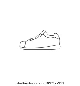 Shoes line icon in flat style. Vector