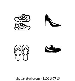 Shoes line set icon. EPS 10 vector format. Professional pixel perfect black & white icons optimized for both large and small resolutions. Transparent background