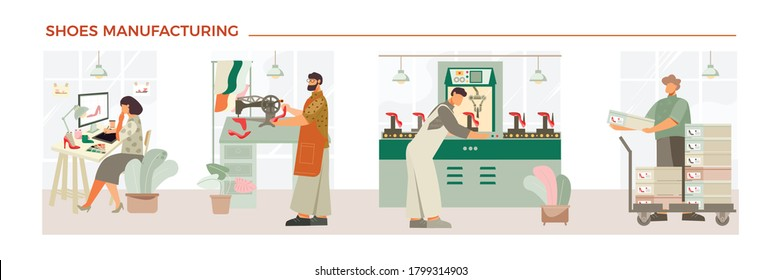 Shoes manufacturing process flat composition with designer shoemaker production control footwear shoeboxes ready for sale vector illustration