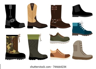 Shoes for men. Mans footwear like leather sneakers and winter and autumn boots isolated on white background. Vector illustration
